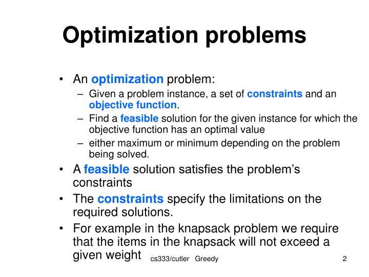 optimization and objective function Multiobjective optimization considers optimization problems involving more than one objective function to be optimized simultaneously multiobjective optimization problems arise in many fields, such as engineering, economics, and logistics, when optimal decisions need to be taken in the.