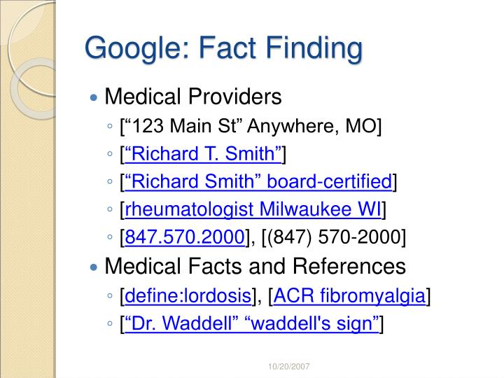 Google: Fact Finding