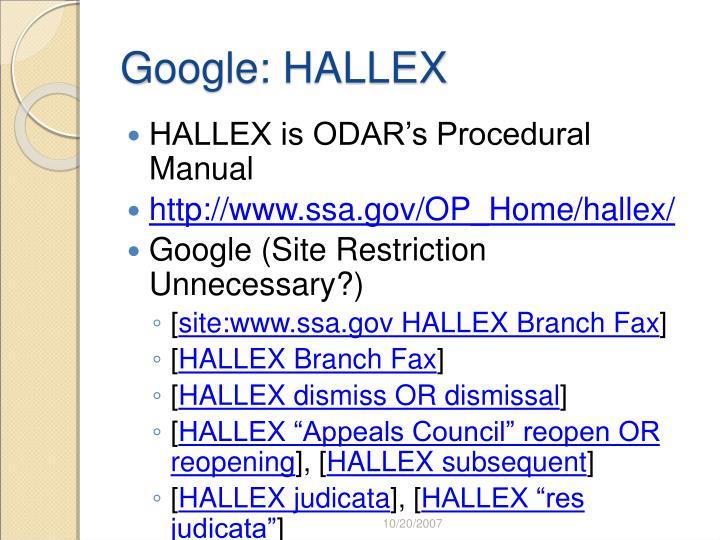 Google: HALLEX