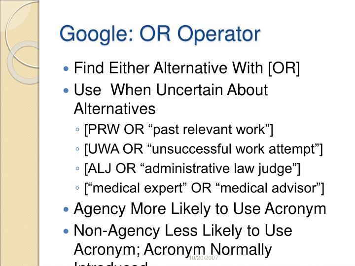 Google: OR Operator