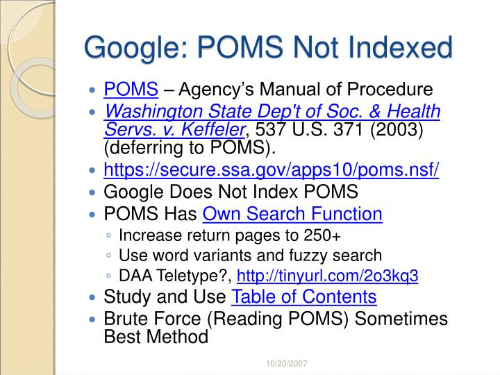 Google: POMS Not Indexed