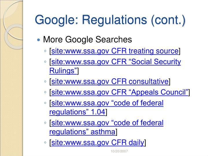 Google: Regulations (cont.)