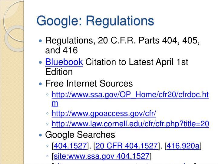 Google: Regulations
