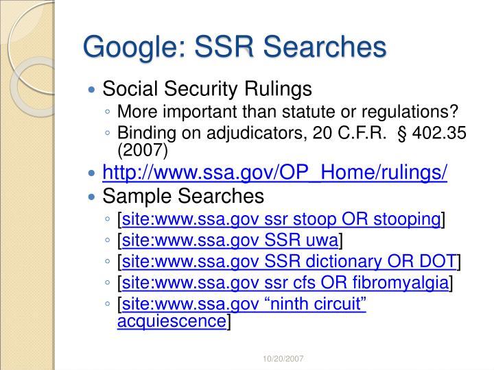 Google: SSR Searches