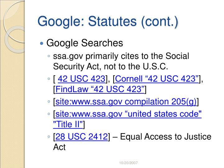 Google: Statutes (cont.)