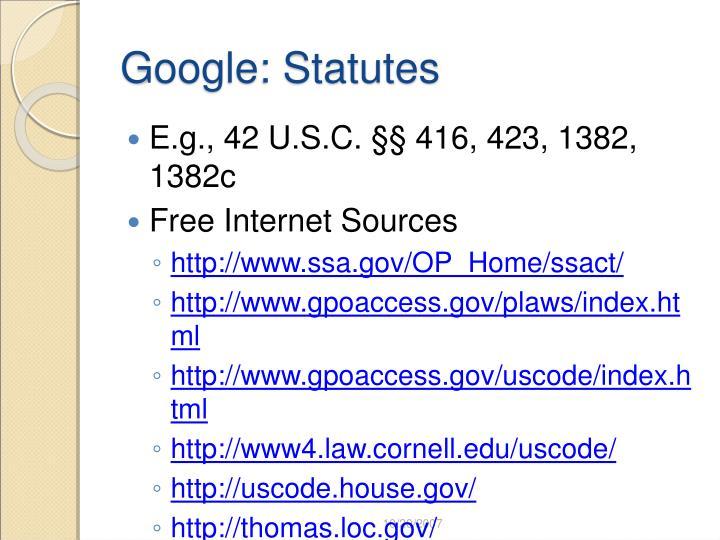Google: Statutes
