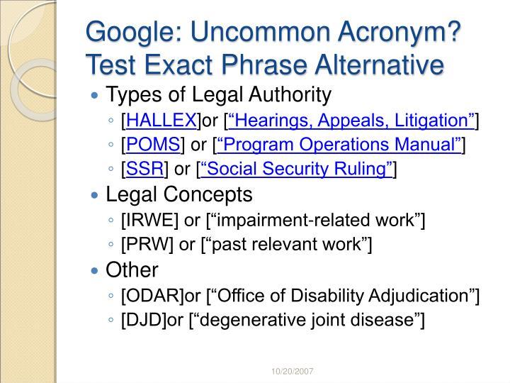 Google: Uncommon Acronym?