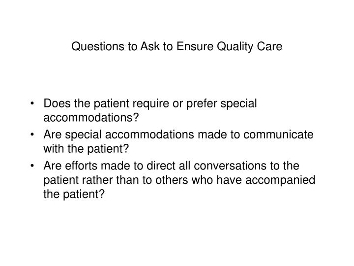 Questions to Ask to Ensure Quality Care