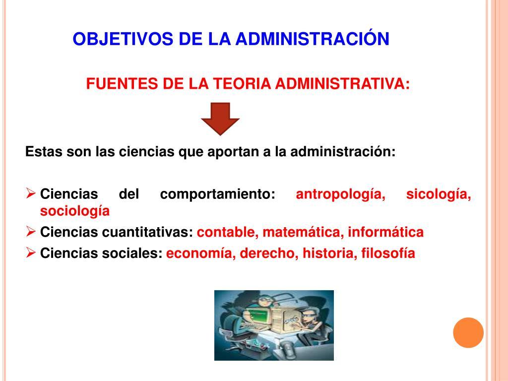 OBJETIVOS DE LA ADMINISTRACIÓN