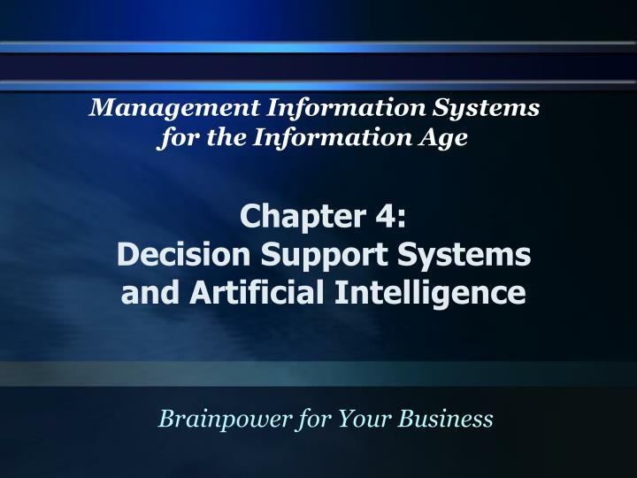 chapter 4 decision support systems and artificial intelligence n.