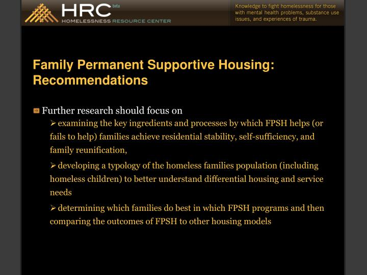 Family Permanent Supportive Housing: Recommendations