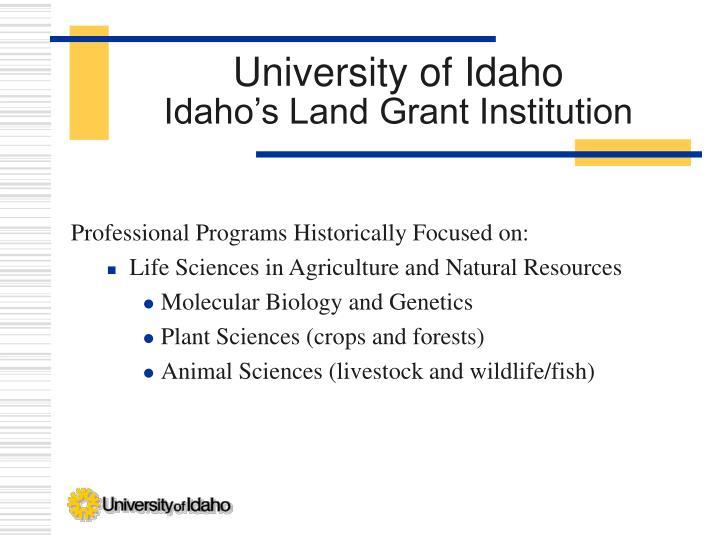 University of idaho idaho s land grant institution
