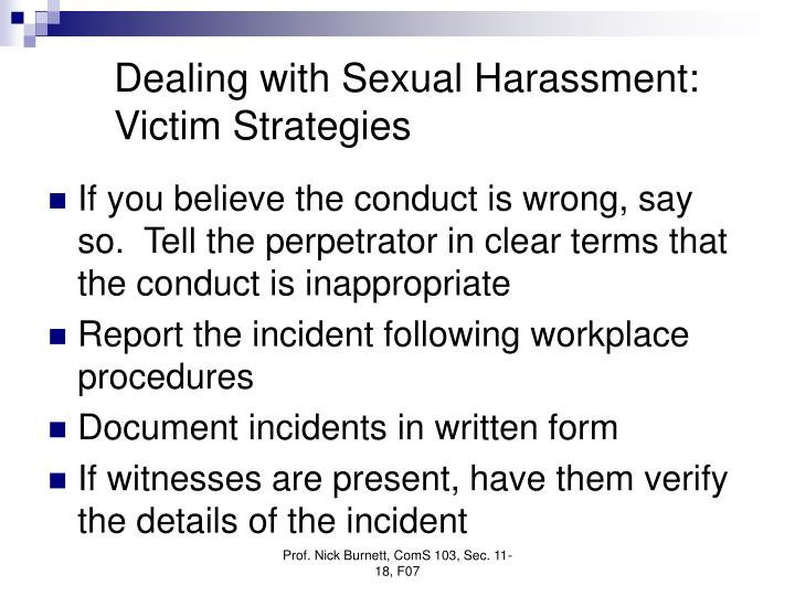 Dealing with Sexual Harassment:  Victim Strategies