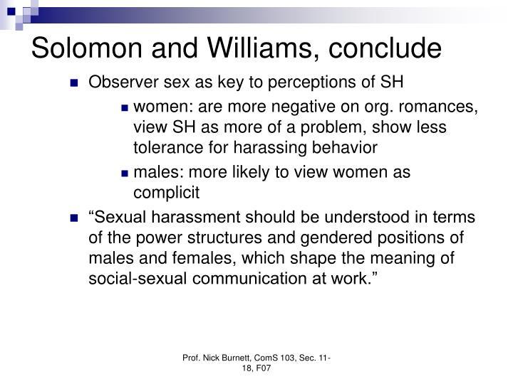 Solomon and Williams, conclude