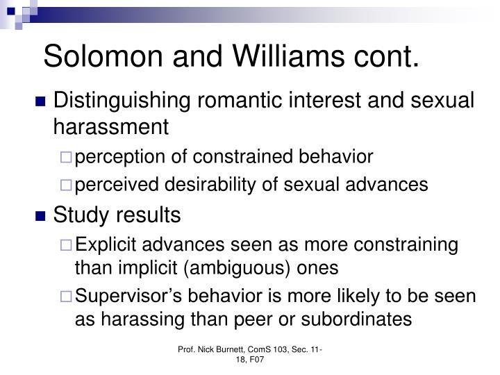 Solomon and Williams cont.