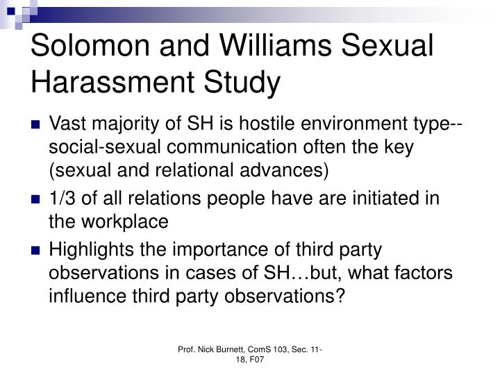 Solomon and Williams Sexual Harassment Study