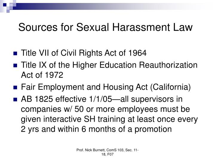 Sources for sexual harassment law