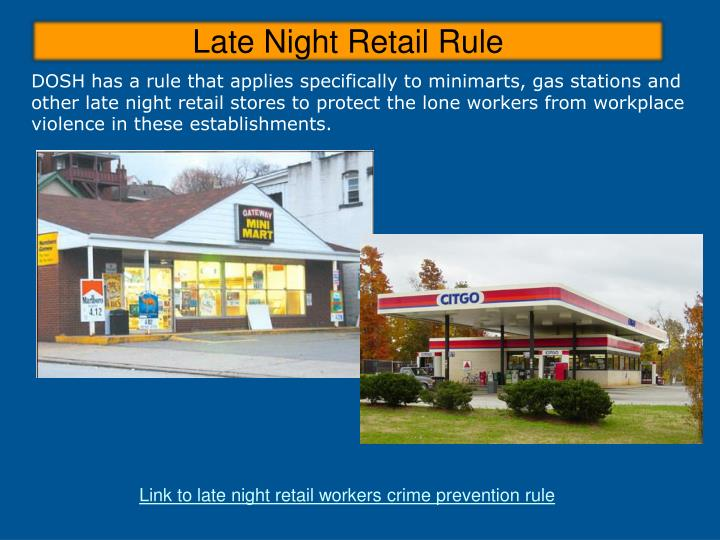 Late Night Retail Rule