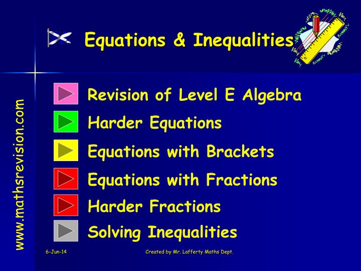 equations inequalities n.