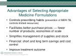 advantages of selecting appropriate medicine formulations