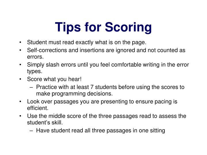 Tips for Scoring