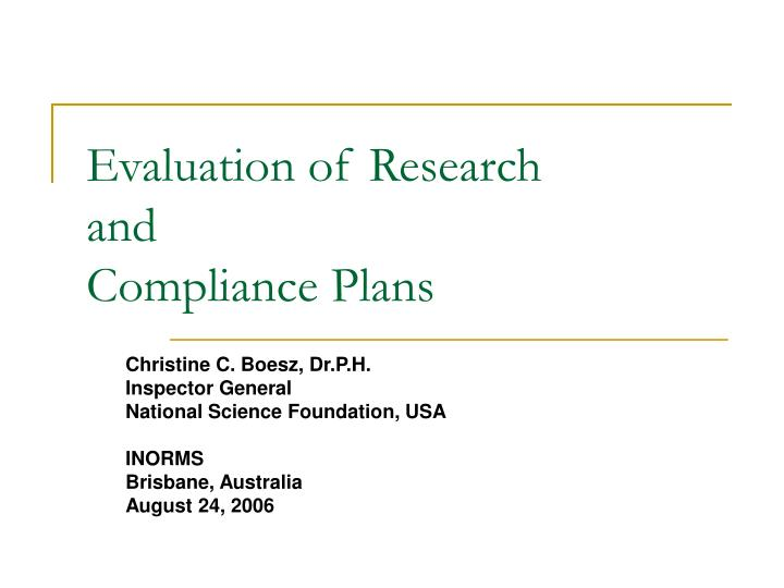 evaluation of research and compliance plans n.