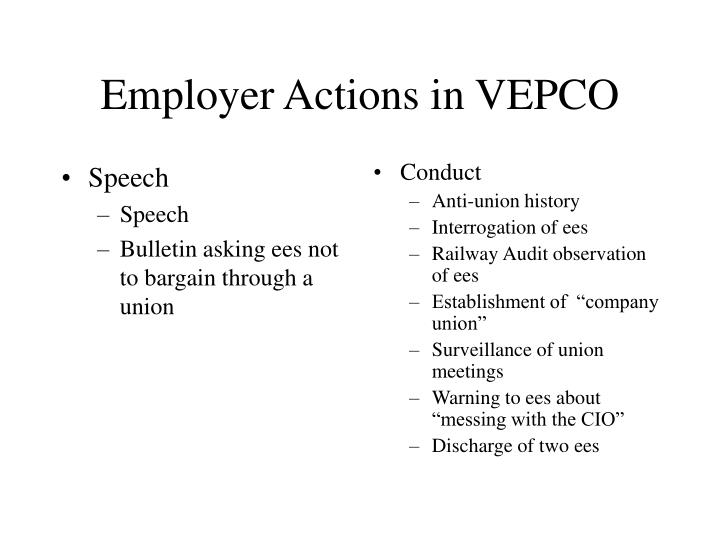 employer actions in vepco n.