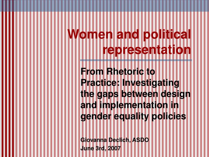 women and political representation n.