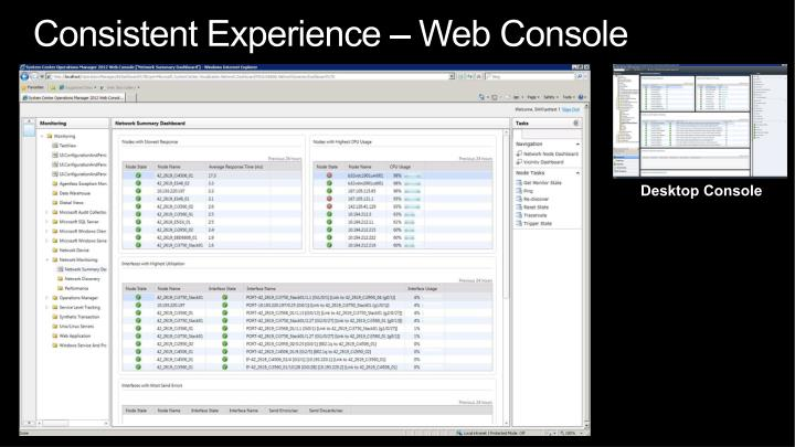 Consistent Experience – Web Console
