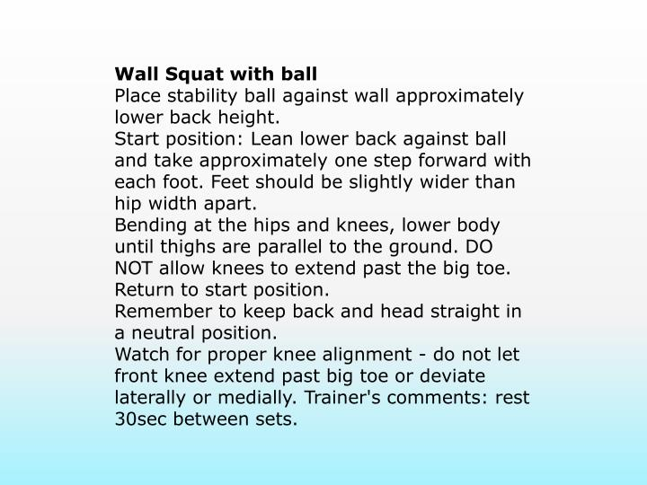 Wall Squat with ball