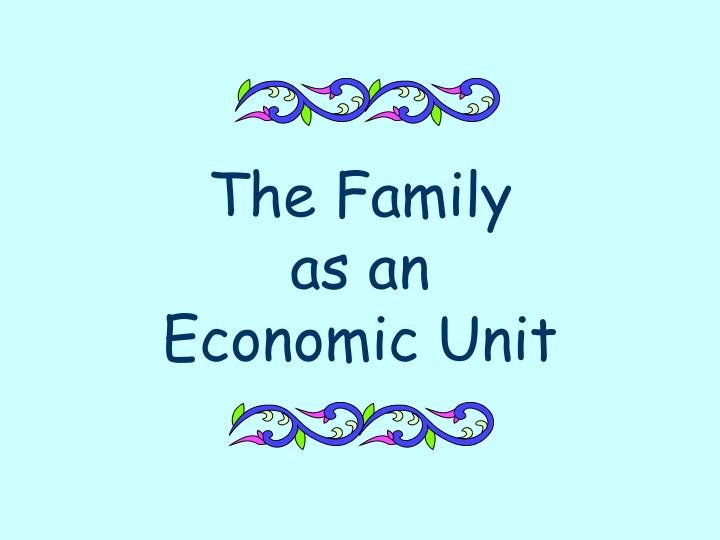 the family as an economic unit n.
