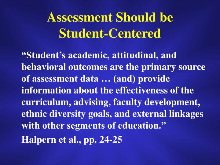 Assessment Should be