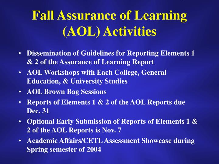 Fall Assurance of Learning (AOL) Activities