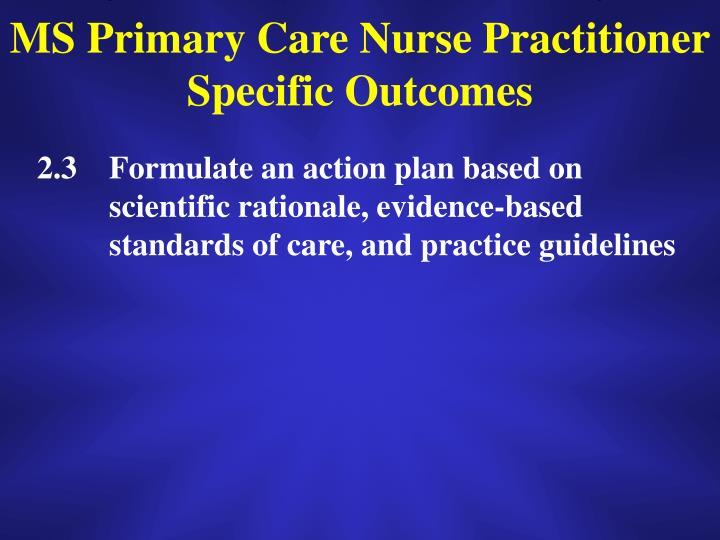 MS Primary Care Nurse Practitioner