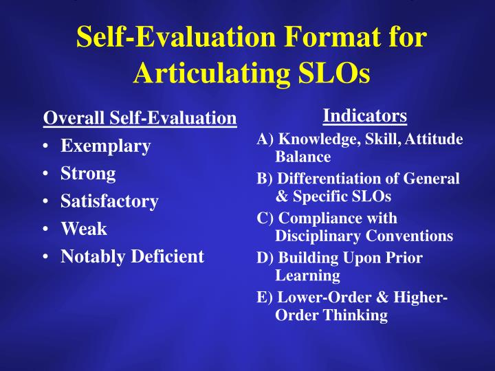 Overall Self-Evaluation