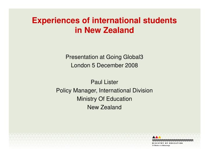 experiences of international students in new zealand n.