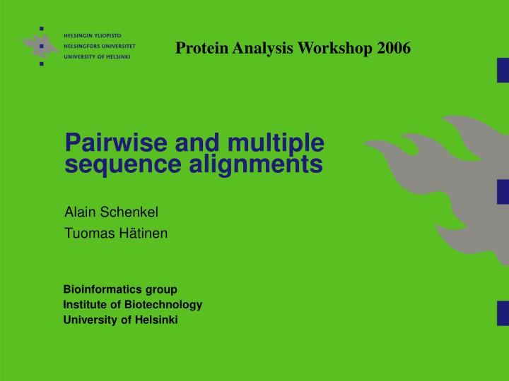 pairwise and multiple sequence alignments n.