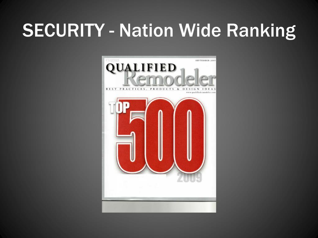 SECURITY - Nation Wide Ranking