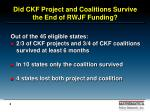 did ckf project and coalitions survive the end of rwjf funding