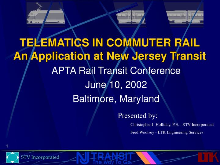 telematics in commuter rail an application at new jersey transit n.
