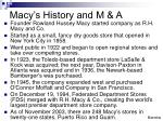 macy s history and m a
