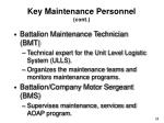 key maintenance personnel cont