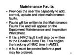 maintenance faults