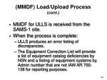 mmdf load upload process cont