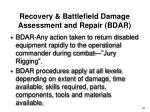 recovery battlefield damage assessment and repair bdar
