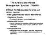 the army maintenance management system tamms