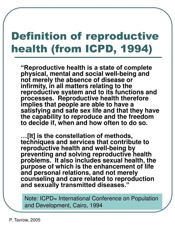 definition of reproductive health from icpd 1994 n.