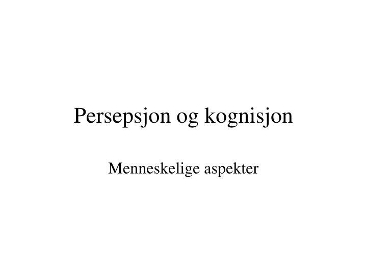 persepsjon og kognisjon n.