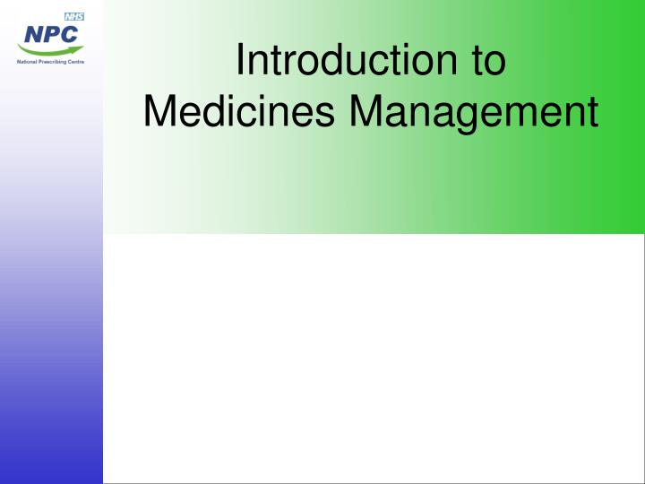 Introduction to medicines management