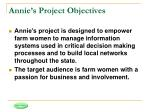 annie s project objectives